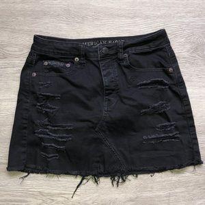 American Eagle Black Distressed Mini Skirt
